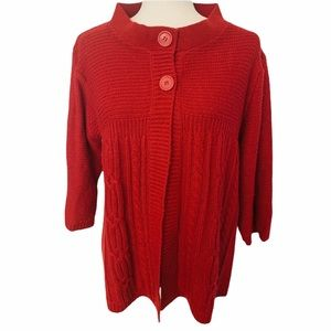 White Stag Open Front Cable Knit Cardigan Red XL
